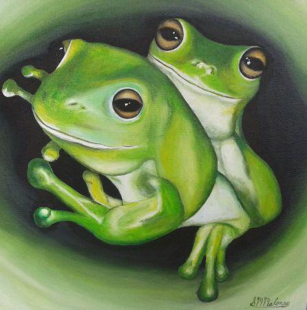 'COSY FROGS' 31 x 31 cm, Unframed $180