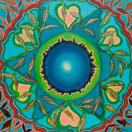 'ANAHATA' Oil on Canvas, 45 x 45cm, Unframed, $210