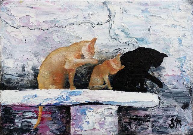 'BATHTIME', OIl on Canvas, 13 x 18cm, $39