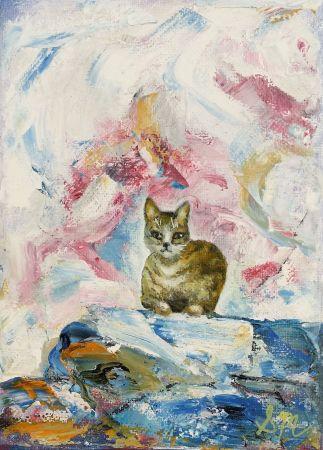 'Cat Minature 5', Oil on Canvas, 13 x 18 cm, $45