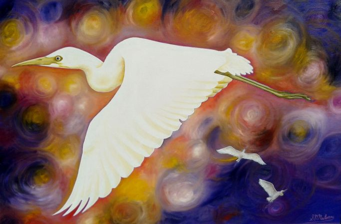 'EGRET FLYING' Oil on Canvas, 77 x 51cm, $540