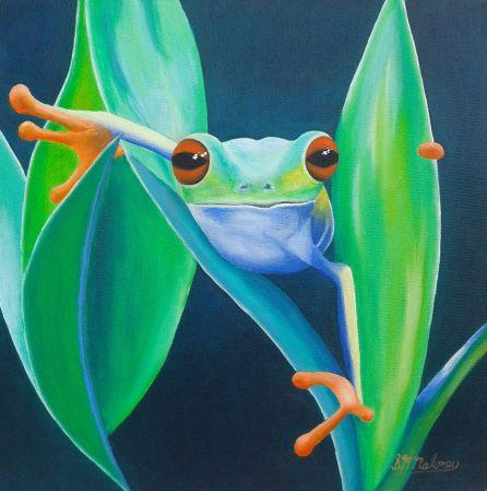 'Fast Frog' 30 x 30 cm, Unframed, SOLD