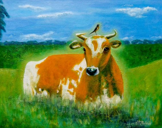 'HOLY COW' 58 x 48 cm, Framed $390