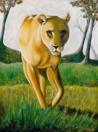 'LIONESS WALKING' 66 x 51 cm, Framed $590