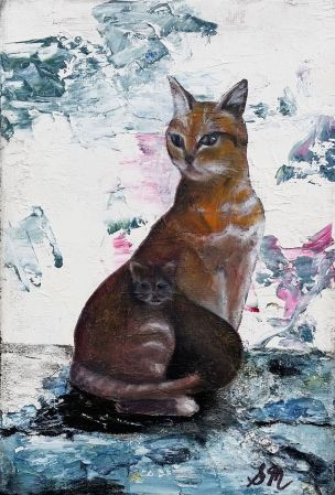 'MOTHER AND KITTEN' Oil on Canvas 13 x 18cm SOLD SOLD