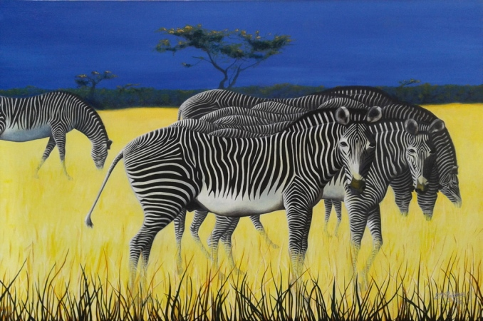 'ZAMBIAN ZEBRAS' 91 x 61 cm SOLD