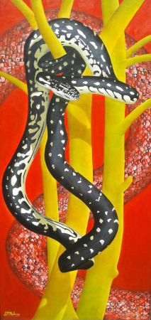'Sacred Serpent' Framed, 86 x 46 cm $690