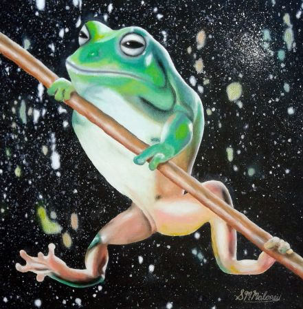 'STRONG FROG' Oil on Canvas, 30 x 30cm, Unframed $180