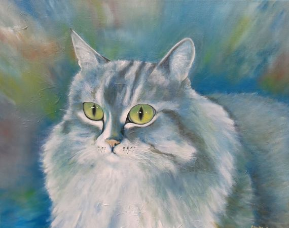 'Fluffy' Oil on Canvas Commission Painting