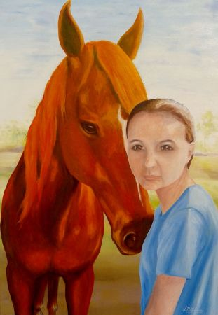 Sarah and Borax Oil on Canvas Commission painting
