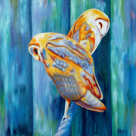 'SLEEPING OWLS' Oil on Canvas 61 x 61cm, $480