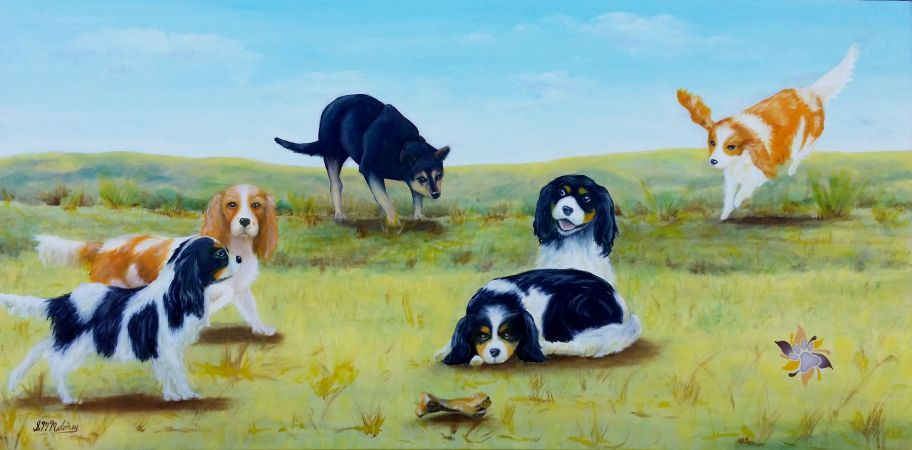 'Lia's Dogs' Oil on Canvas Commission Painting