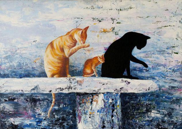 'BATHTIME',Oil on Canvas, 70 x 60cm, $600