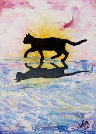 'Cat Minature 7', Oil on Canvas, 13 x 18 cm, $45